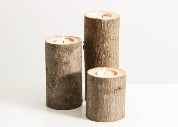 Tree Branch Candle Holders Set of 3 Heights- Rustic Wood Candle Holders, Tree Bark, Wooden Candle Holders