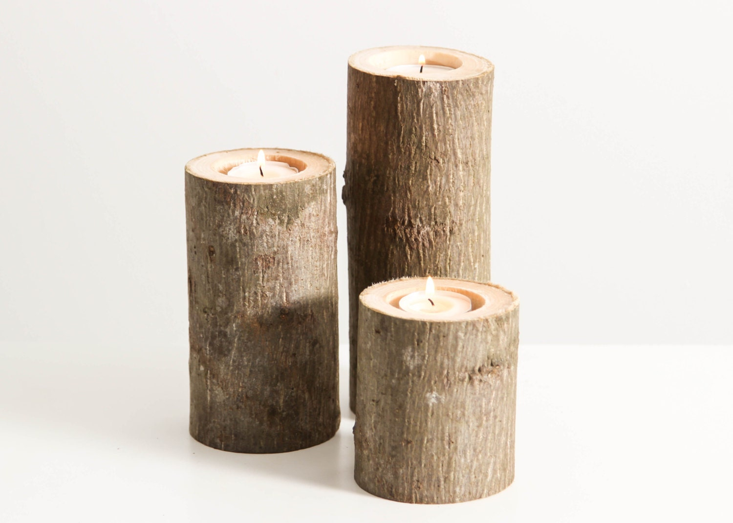 Tree branch candle holders set of 3 heights rustic wood for Candle holders out of wood