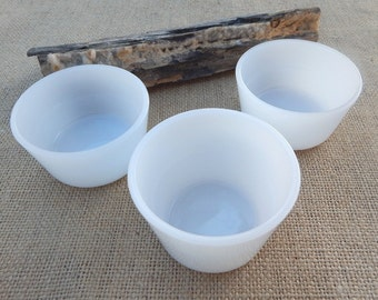 Glasbake Milk Glass Custard Cups  ~  Milk Glass Small Bowls  ~  Milk Glass Custard Cups