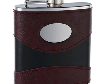 6 ounce Hip Flask - Black and Dark Red -  Personalization included