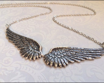 Angel Wing Necklace-Silver Wing Jewelry- Gorgeous DETAILED Angel Wing Pendant, Bridesmaid, Mother's, Sister FOREVER Gift, Silver Necklace