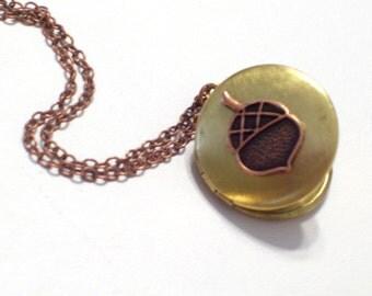 Little Acorn Locket, Graduation Gift, Copper Brass Locket, Two Tone Locket Pendant Necklace, Mixed Metals Necklace, Acorn Jewelry