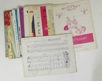 Vintage Children's Instruction Sheet Music Collection