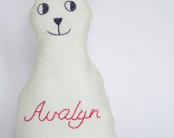 Personalised Bunny Plush Softie Hand Embroidered