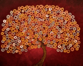 Red Abstract Tree Painting - Japanese Style Tree Painting - Custom Red & Metallic Tree Painting - Commission a Tree Painting by Louise Mead