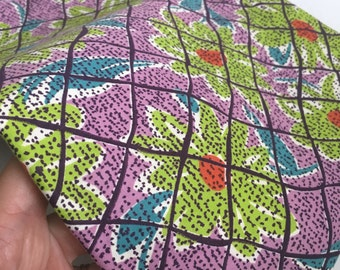 Vintage 1960s Bright Flower Fabric - Bulk - Yardage - Green Teal Purple Orange