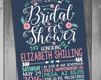 Bridal Shower Invitation Wedding Shower Printable Bridal Printable Wedding Floral Bridal Navy Bridal Wedding Invitation Rustic Bridal