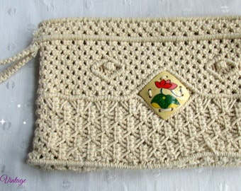 Vintage Macrame Boho Clutch Bag Woven Ladies Purse Creme Handmade Philippines