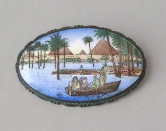 Egyptian Revival Brooch. Art Deco. Nile Scene.