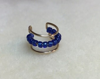 The Thin Blue Line Beaded Cartilage Cuff