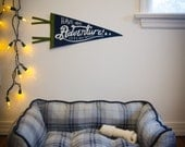 Pennant, Have an adventure, Let's pee outside! 100% wool, hand lettered, hand silkscreened banner, IN STOCK ready to ship