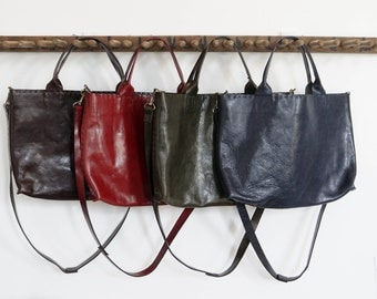 The Madeleine Bag - Italian Leather - Red or Brown- With Hidden Zipper Closure - SALE - 30% OFF