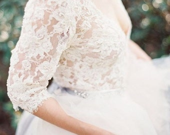 Lace and tulle Long Sleeve Wedding Dress Custom made bridal gown