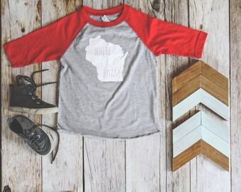 Wisconsin Shirt, Where I Roam Kids Shirt, Kids Baseball Tee