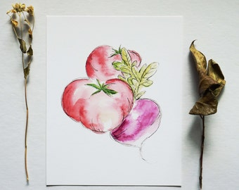 Vegetable Medley No. 2 - Watercolor Print - 8 x 10