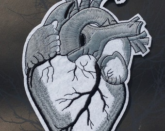 Large Silver Grey Anatomical Heart Embroidered Patch Applique Very Gothic Emo Punk