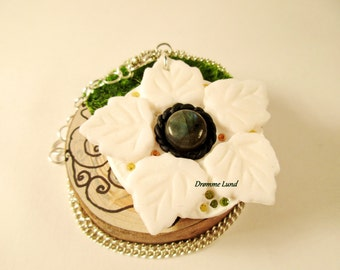 Winter Wreath ~ Winter themed Necklace ~ Holiday Wreath