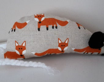 Catnip Mouse -  Beige with Foxes design - Made with Extra Strong Catnip