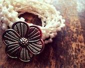 White as Snow: Versatile crocheted necklace / bracelet / belt / headband