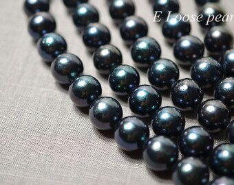 90% AAA leather pearl Round Edison pearl 13.5-15mm Large hole pearl Freshwater Pearl Nucleated Pearl Necklace Loose pearls black PL4280