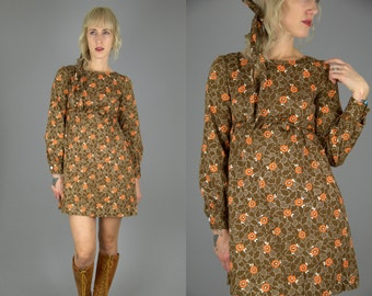 60s Dolly Dress Floral Cotton Empire Waist Babydoll Dress