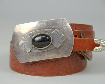 70s Western Belt Tooled Leather with Silver & Onyx Buckle Set