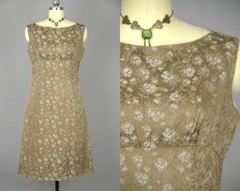 60s Brocade Empire Waist Soft Brown Silk Cigarette Dress