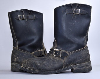 70s Motorcycle Boots Black Leather Steel Toe Engineer Biker Boots Mens 12