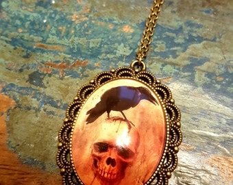 Raven Necklace - Skull - Gothic - Skeleton - Crow - Bird Necklace - Pendant