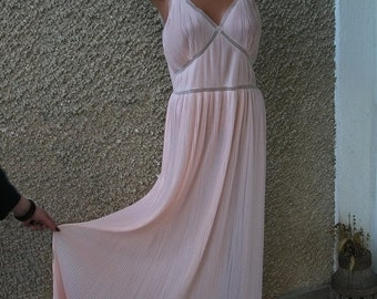 ON SALE: Vintage Valisère Maxi Accordion Pleated Nightgown size M-L