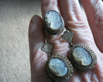 2 Pc. Antique Cameo Demi Parue... Screw Earrings, Ring...Free Shipping