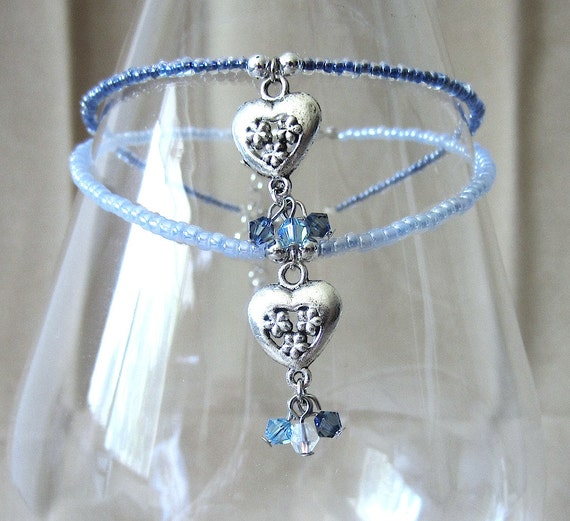 The Bride Wore Blue; Crystals, Hearts & Flowers Charm Handcrafted Beaded Anklet, Handmade Original Fashion Jewelry, Sparkling Beach Wedding