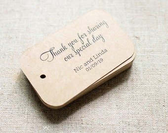 Thank You for Sharing Our Special Day Personalized Gift Tags - Rustic Wedding Favor Tags - Thank you tags - Set of 24 (Item code: J300)