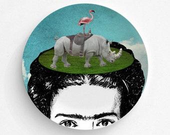 Frida Kahlo Melamine Plate - Frida Kahlo Rhino Flamingo Plate - Melamine Dinnerware - Frida Kahlo Art  - Decorative Plate - Dinner Plate