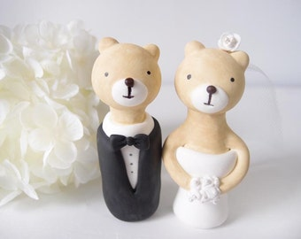 Custom Wedding Cake Toppers - Love bear with base