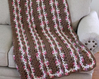 Afghan - Handmade Crochet Queen Size Blanket - Pink Camo with Cafe' Centers