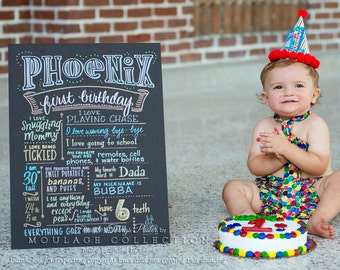 """15""""x20"""" art board, first birthday chalkboard style custom ink drawing, the original Favorite Things Poster™"""