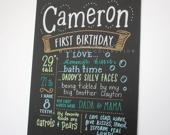"First birthday chalkboard style custom ink drawing, 11""x14"" art board, the original Favorite Things Poster™"