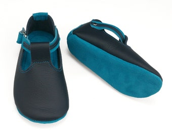 Handmade aqua and navy leather soft sole baby and children's shoes.  Soft sole baby boy shoes.  T-bar shoes. Booties.
