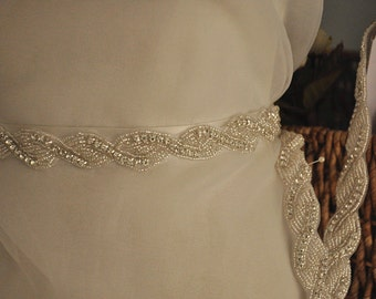 Beaded Rhinestone Trim for Bridal Sash, Wedding Belt , Straps sold by yard