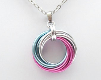 Transgender pride pendant, large love knot chainmail necklace, trans pride jewelry, pink white blue