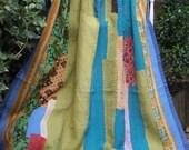 SALE PRICE Blue green kantha,Blue kantha quilt,Turquoise kantha,Vintage kantha quilt,Sari throw, Sari blanket, Indian throw,Boho throw