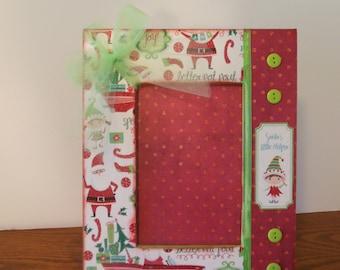 4 x 6 Christmas frame / Elf Frame / Christmas / Handmade Frame / Holiday Frame