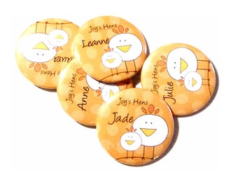 Hen and Chick hens party badges add your text