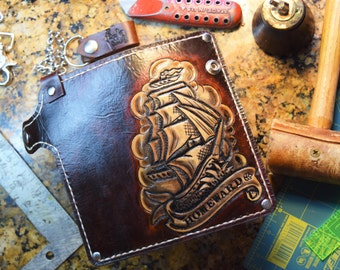 Chain Wallet Traditional Tattoo (Biker Wallet,leather wallet,Sailor wallet,trucker wallet,Navy wallet,pirate wallet) Outlaw Leather USA