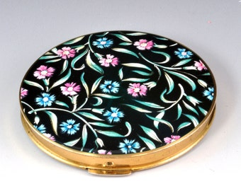 Vintage Stratton Enamel Top Compact - Emerald Green Lid with Floral Design - Vintage Women's Makeup Accessory Case - Face Powder Compact -