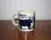 Coffee Mug, Vintage 70s Taylor and Ng Mug Le Bulle/ Le Vache – Dark Blue – Wheat Shaft, French Animals Mug