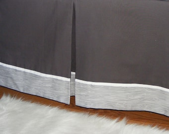 Baby bedding Dust Ruffle / Lined Crib Skirt 14'' /  Any Fabric with flange detail / grey white navy