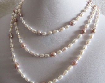"Sale Elegant Bridal Wedding Jewelry Authentic Genuine Organic Freshwater 55"" White Lavender Pearl Strand Necklace"