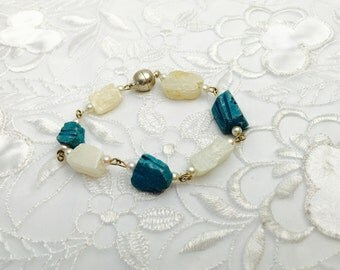 White and Turquoise SCARAB Bracelet, Carved Stone, Silver Tone Clasp, Alpaca Wire, HALF OFF Sale, Item No. B766